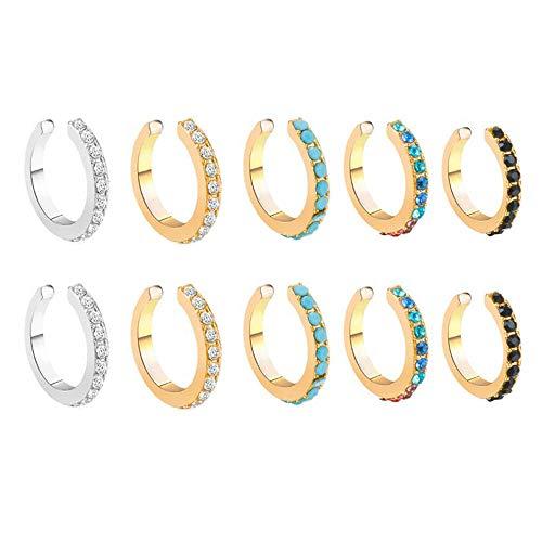 Dragonface 10 piezas CZ Ear Cuff Fake Conch Piercing Sin Piercing Perla Ear Cuff Mujeres Boda Niñas Pendientes Accesorios Joyería Suministros