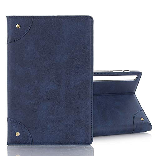 YPZHEN For Galaxy Tab S6 T860 / T865 Retro Book-Style Horizontal Leather Case with Holder & Card Slots & Wallet (Black) (Colour: Navy Blue)