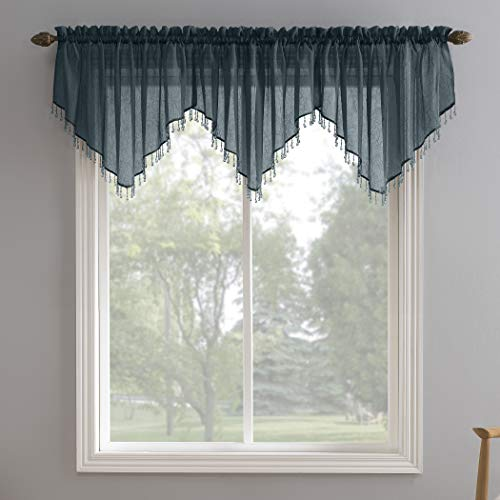 No. 918 Erica Crushed Texture Sheer Voile Beaded Ascot Rod Pocket Curtain Valance, 51' x 24', Teal