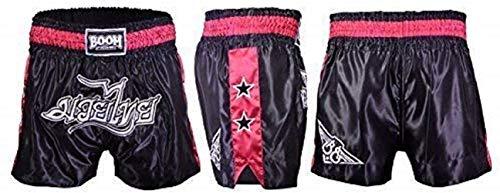 BOOM Prime Muay Thai Pantaloncini Combattimento MMA Kick Boxing Pantaloncini Grappling Arti Marziali Cambio UFC Donna - Nero e Rosa, M (27'-30' Waist)