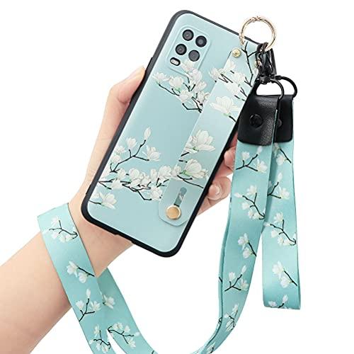 Yoedge Wristband Funda para Xiaomi Mi 10T Lite 5G 6,67 Pulgada Carcasa con Collar, Suave Correa de muñeca Soporte contraportada TPU Siliconae Patrón Antigolpes Protector Xiaomi 10T Lite, Azul