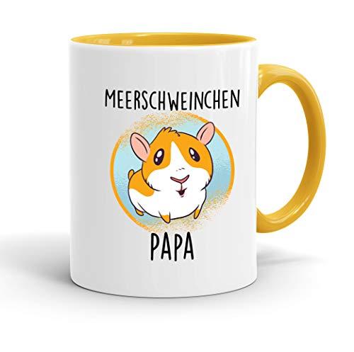 True Statements Tasse Meerschweinchen-Papa - tolles Geschenk für Tierfreunde - spülmaschinenfest - beidseitig Bedruckt - Farbe goldgelb (Meerschweinchen-Papa)