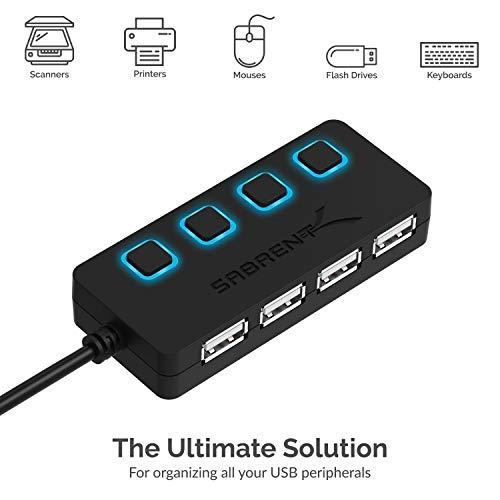 Sabrent a 4 porte Hub USB 2.0 con interruttori di alimentazione individuali e LED (HB-UMLS)