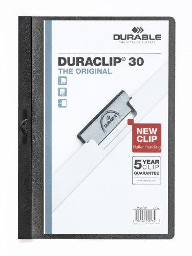 Durable 222701 Klemm-Mappe Duraclip Original 30 Hartfolie (bis 30 Blatt A4) 5 Stück schwarz