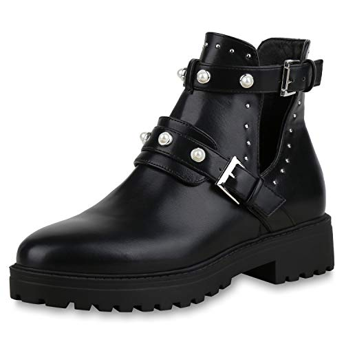 SCARPE VITA Damen Stiefeletten Ankle Boots Zierperlen Plateau Booties Cut Outs 173359 Schwarz 38