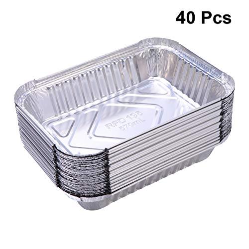 Hemoton 40 Stuks Wegwerp Rechthoekige Aluminium Pannen Taartpannen Aluminiumfolie Kommen Voor Braden Braden Koken Zonder Deksels