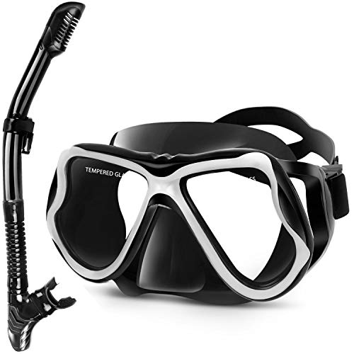 Greatever Dry Snorkel Set,Panoramic Wide View,Anti-Fog Scuba Diving Mask,Easy Breathing and Professional Snorkeling Gear