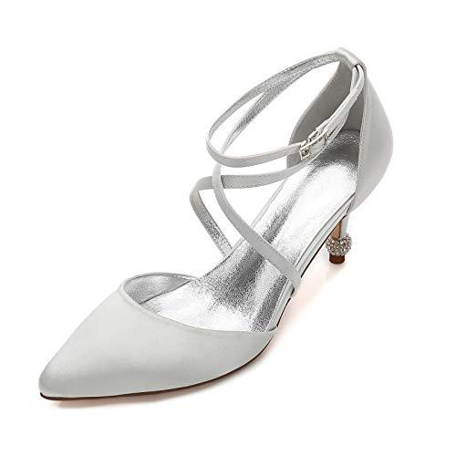 AQTEC Mujer Zapato de Tacón Alto Tiras Cruzadas Puntiagudo Satín Tacones de Aguja Fiesta de graduación Zapatos de Novia de Boda Sandalias,Plata,40 EU
