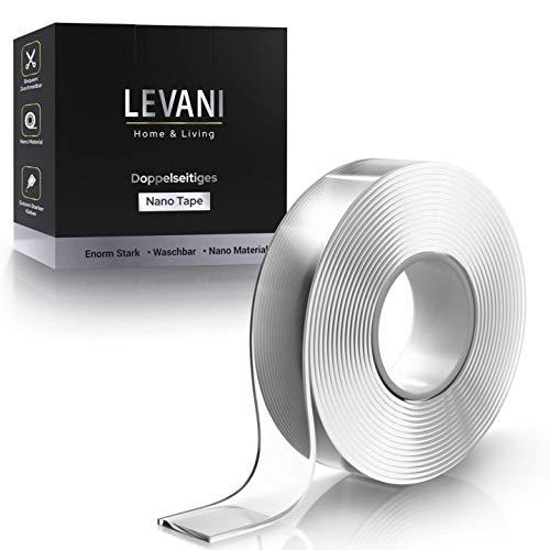 LEVANI UNSER ORIGINAL Nano Magic Tape - Advanced Version - [3 Meter] - Doppelseitiges Klebeband extra stark - aus waschbarem Nanomaterial - Wiederverwendbares Nano Tape