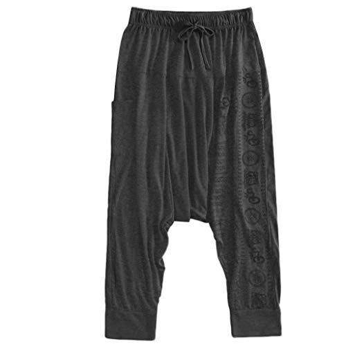 Harem Pants for Men Casual Baggy Hippie Yoga Ethnic Print Boho Loose Gypsy Trousers
