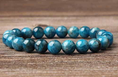 CXWK Pulsera de apatita Azul Natural de 4/6/8/10/12 mm Adecuada para Hombres y Mujeres para Usar Joyas con Cuentas de Hilo elástico