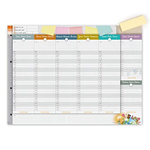 IMUMI Planner settimanale da tavolo - fori per archiviazione in raccoglitore ad anelli - fronte e retro - 3 lingue - 40,5x29,7cm