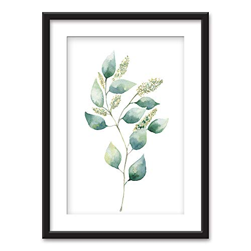 wall26 - Framed Wall Art - Watercolor Style Tropical Plant Leaf - Black Picture Frames White Matting - 23x31 inches