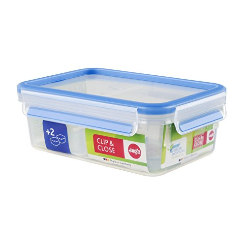Emsa 512895 Frischhaltedose mit 2 Einsätzen, Volumen 1 Liter, Transparent/Blau, Clip & Close