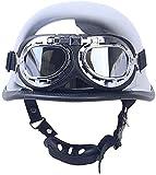 GAOZHE Helmets Casco Moto Jet ECE Homologado -Ciclomotor Casco,Classic Casco Moto Jet Casco Moto Abierto Custom Scooter para Mujer Hombre Adultos Retro Casco Moto