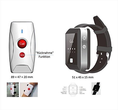 'Cuidado Juego de llamada, sistema de llamada: impermeable RUF emisor + receptor inalámbrico Reloj de pulsera llamada para personas mayores con función