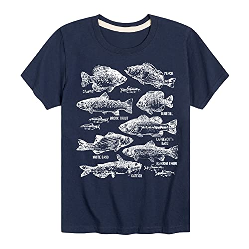 Instant Message Freshwater Fishes - Toddler Short Sleeve T-Shirt Navy