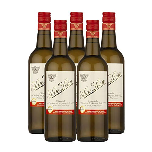 Wein Manzanilla San Leon von 75 cl - D.O. Manzanilla-Sanlucar de Barrameda - Bodegas Argüeso (5 Flaschen)