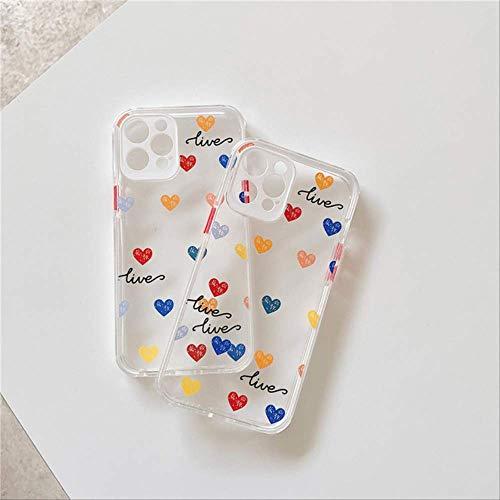 Color Love Heart Camera Protection Funda para teléfono para iPhone 12 11 Pro MAX 7 8 Plus X XR XS MAX Funda Trasera Suave para Parachoques Transparente para iPhone 11 Pro AAO