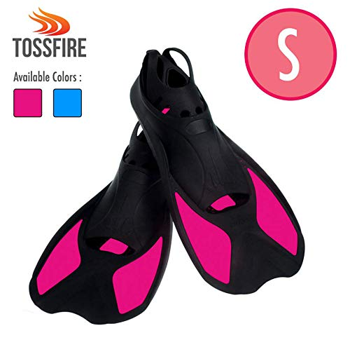 Comfecto Swimming Short Floating Training Diving Fins for US Size S Ankle Width 2.9 Inch Thermoplastic Rubber for Swimming Scuba Diving Snorkeling, Rose Red