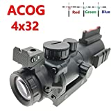 Hauska Mirino Red DOT 4 x 32 Rosso/Verde/Blu Tri-Illuminated Compatto Scope con Rosso Fibra Ottica Vista Acidato 20MM/22MM Montatura Picatinny Integrata Rail Mount Regolabile