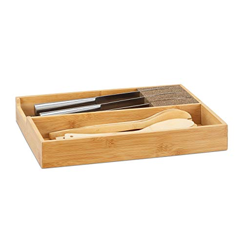 Relaxdays Bamboo Knife Block, in-Drawer Knife Organizer, Cutlery Storage, HWD 6.5x38x30cm, Natural