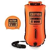 Buddyswim boya de seguridad para natación en aguas abiertas de 28 litros. Incluye gorro de silicona a juego. Color naranja.