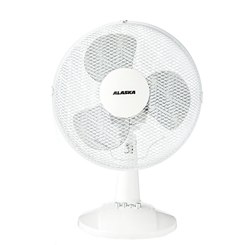 ALASKA Tischventilator DF 3009 | Weiß | Lüfter | 3 Geschwindigkeitsstufen | zuschaltbare Oszilation | 40 Watt | 34,5 cm Ventilator-Kopf