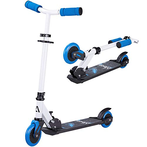 Albott Kids Scooter 2 Wheel Kick Scooters for Boys and Girls Lightweight Foldable Scooters for Kids Adjustable Handles Scooters with Ergonomic Curved Handlebars for Children Aged 3+ (Blue)