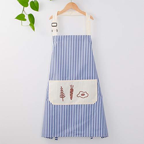 LYDCX Haushaltsschürze Küche Kochen Ölbeständiges Kleid Erwachsene Frau Weste Overalls Lätzchen Blau B
