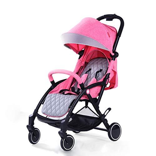 Kinderwagen, Kinderwagen Leichtklappsitz Pritschen Stroller (Color : Pink)