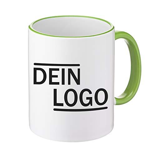 Foto Premio Werbetasse mit Logo | Kaffeetassen mit Logo Bedrucken, Tasse mit Logo in Kleiner Auflage günstig bestellen, Spülmaschinen- und Mikrowellenfest, 300ml Füllmenge (Hellgrün, Standard)