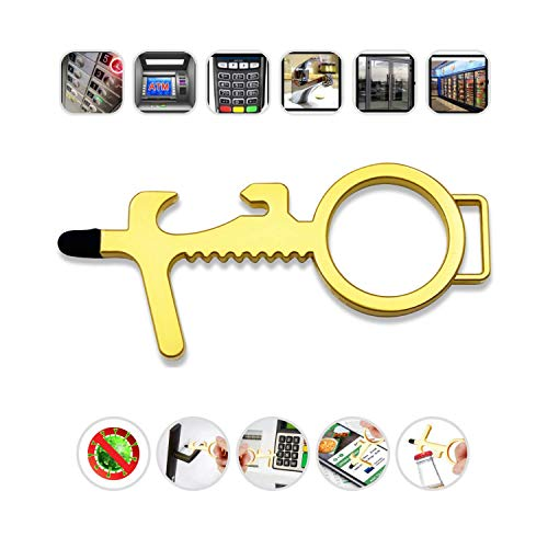 No Touch Door Opener Tool, Clean Key, Germ Key - Multifunction Touchless Door Opener, no Touch Keychain Tool, Hands Free Door Opener and Stylus Pad (1)