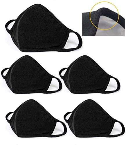 nvyue 5 Pack Unisex Face Covering, Facial Covering with Adjustable Nose Wire,Black Dust Cotton, Washable and Reusable Cloth for Men and Women