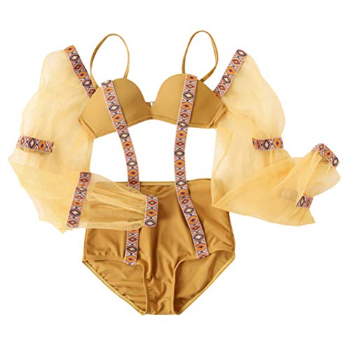 TENDYCOCO Malla de Las Mujeres de Manga Larga Bikini Moda Traje de baño Atractivo Traje de baño de Verano Playa Traje de baño Talla L (marrón Amarillento)