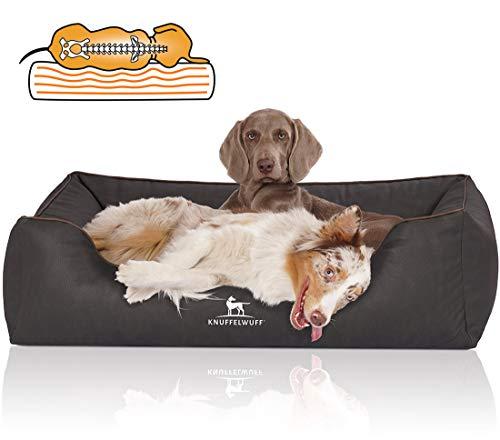 Knuffelwuff Orthopädisches Hundebett Rockland aus Kunstleder XXL 120 x 85cm Schwarz