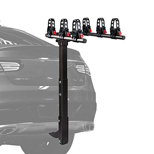 X-BULL 3 Bike Rack Hitch Mount Double Foldable Rack, Hitch Rack Suitable for Cars, Trucks, SUV's, General Purpose Adjustable Frame Adapter and Adjustable Bolt for Spare Tire Racks