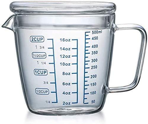 Vaso medidor de vaso medidor de cristal (500 ml), vaso medidor líquido,...