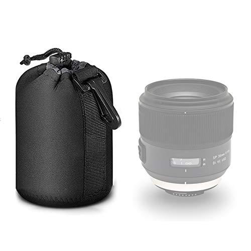 Selens Black Protective Drawstring Soft Neoprene DSLR Camera Lens Pouch Bag Compatible with Sony Olympus Panasonic, Medium Size Camera Lens Case Camera Lens Protector Bag SLR Lens Protective Case