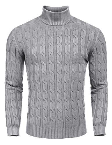 COOFANDY Rollkragenpullover Herren Slim fit Fuer Herren warm Pulli Sweater grau