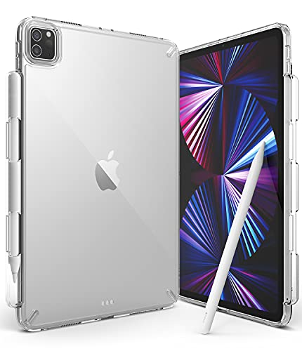 Ringke Fusion Compatible with iPad Pro 11 inch Case, Transparent Back Cover with Attached Pencil Holder [Over Charge Prevention] for 11' Pro 2021, 2020, 2018 Ver. - Clear