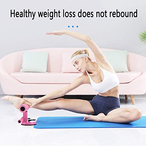 WM'SPARKLE Sit-up Aid,Sit-ups Assistant Device,Household Fitness Equipment for Abdominal Muscle Exercise Machine Portable Self-Suction Situp bar (Pink) 4