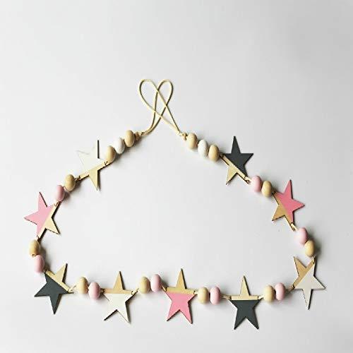 Hmg Madera Estrellas Banner Cortinas for Habitaciones de niños Ropa for niños Tienda decoración de la Pared (Oro Negro Rosa) (Color : White Powder Gray)