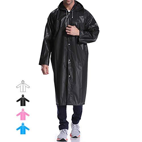 Hapshop Wiederverwendbarer Regenmantel für Erwachsene, ungiftig, EVA, tragbarer Poncho mit Kapuze und Ärmeln, Unisex-Erwachsene, Schwarz, 2er-Pack, One Size