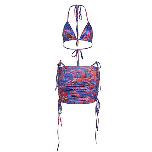 Huaxingda Y2K Style - Traje de baño sexy para mujer con estampado de tie-dye Y2K, falda casual o primavera, verano, otoño e invierno