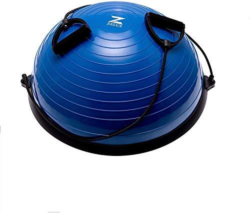 HIRAM Yoga Hemisphere Ball 60cm Balance Ball Balance Trainer Evenwichtstrainer Gymnastiekbal Trampoline Bal Fitness Evenwicht Bal Gymnastiekbal Met Trekkoord voor Krachttraining Evenwichtstraining Blauw (Blauw)