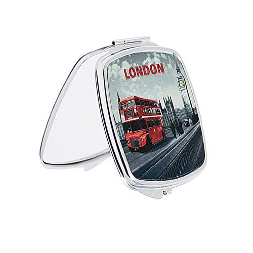 Sterling Product Miroir de poche compact de maquillage souvenir britannique pliable de forme ronde (London)