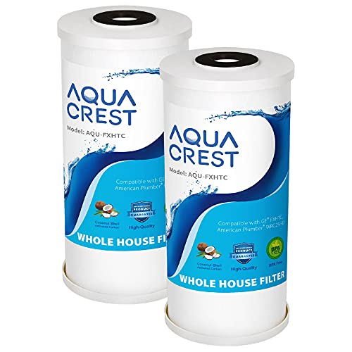 AQUACREST FXHTC 5 Micron 10' x 4.5' Whole House Water Filter, Replacement for GE FXHTC, American Plumber W10-PR, W10-BC, Culligan RFC-BBSA, GXWH35F, GXWH40L, W50PEHD, Pentek R50-BB, Pack of 2