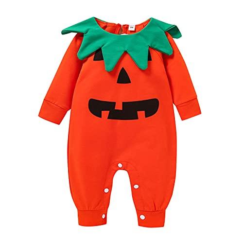 BIBOKAOKE Halloween Baby Kostüm Kürbis Langarm Strampler Neugeborene Kleinkinder Weiche Babyset Kleinkind Baby Jungen Mädchen Kleidung Set schön Babykleidung