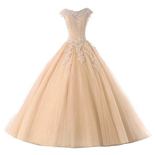 Ballkleider Lang Prinzessin Quinceanera Kleider Tülle Brautkleid Abendkleider A-Linie Partykleid Festkleider Champagne 32